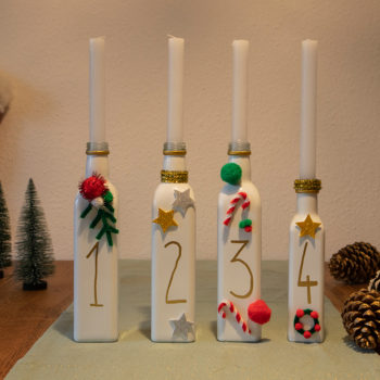 DIY Adventskranz aus Flaschen