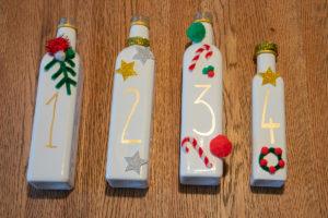 Dritter Schritt DIY Adventskranz aus Flaschen